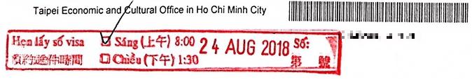 dấu đặt lịch hẹn visa đài loan